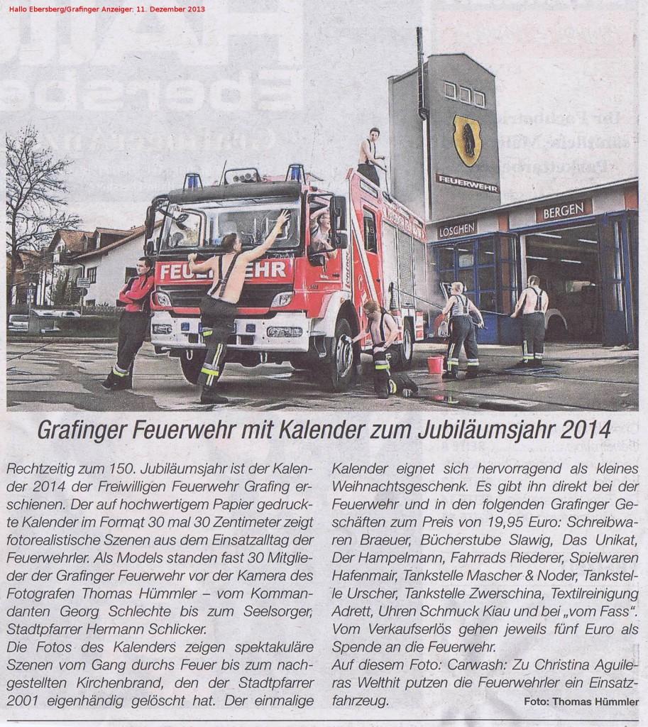 Hallo Ebersberg/Grafinger Anzeiger (Ausgabe vom 11. Dezember 2013) zum Feuerwehrkalender 2014