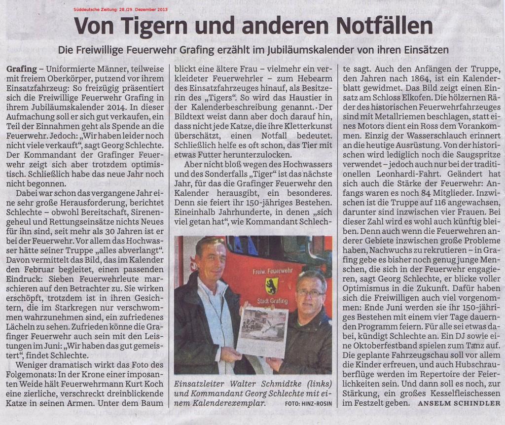 Die Süddeutsche Zeitung (Ausgabe vom 28. Dezember 2013) berichtet über den Grafinger Feuerwehrkalender