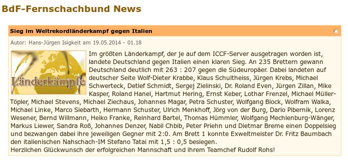 Der Fernschachländerkampf Deutschland-Italien endete im Mai
