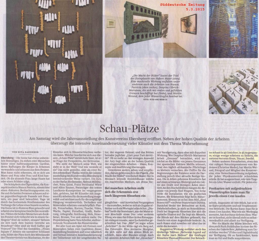 Die Süddeutsche Zeitung (Ausgabe vom 5. März 2015) berichtet über die Jahresausstellung des Kunstvereins Ebersberg
